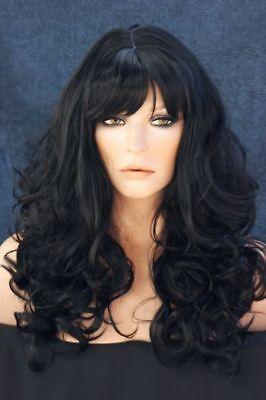 Extra Long Black Wavy Curly Layered Skin Top Wig Waca 1