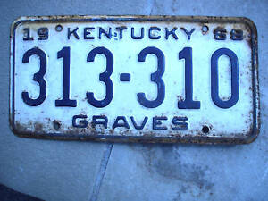 1968 KENTUCKY LICENSE PLATE GRAVES COUNTY 313 310