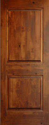 Knotty alder 2 panel square raised solid core interior for Solid wood door construction