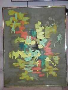 FRAMED ABSTRACT PAINTING ARTIST SIGNED P JOHNSTON CA 1970 FRAMED *