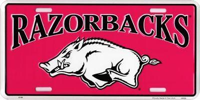 Brand Arkansas Razorback  Red  License Plate