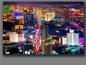 las vegas city view canvas framed home office wall art deco 30 x20 ebay. Black Bedroom Furniture Sets. Home Design Ideas
