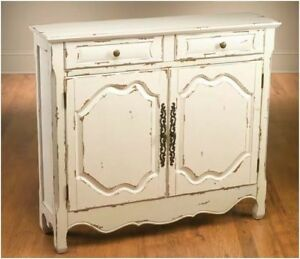 Wooden console cabinet white distressed finish ebay for How to increase cabinet depth