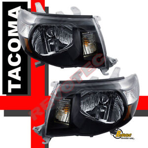 05 06 07 08 09 10 TOYOTA TACOMA HEAD LIGHTS LAMPS BLACK