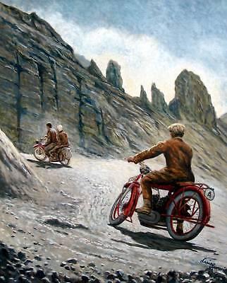 MOTORRAD Oldtimer Südtirol 1930 Dolomiten Ölgemälde Luis Sporeni Bregenz Alto Ad