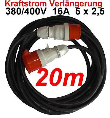 Elektromaterial Cee 16a Verlängerungskabel 20m 380 400 V Kabel 5x2,5mm² Freigabepreis Baugewerbe