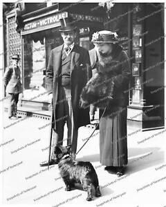 Vintage-photo-Lady-Gentleman-2-Scottish-Terrier-8x10-in