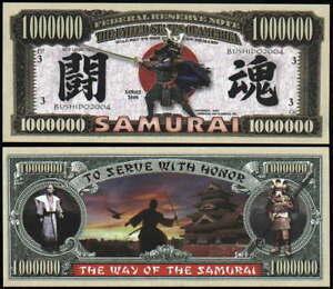 SAMURAI WARRIOR MILLION DOLLAR BILL - Lot of 10 Bills