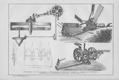 Mähmaschinen Balkenmäher Samuelson HOLZSTICH von 1893