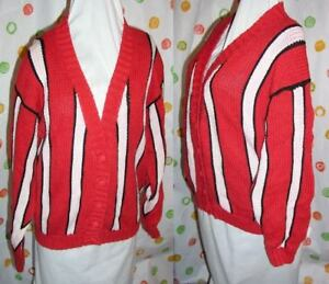 vintage-LAUREN-GRAY-SWEATER-RED-WHITE-M-WOMENS-1970-039-S