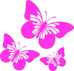 3 x Pink Butterfly Car,Camper Van Window Stickers ~2