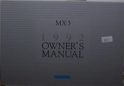 1992 Mazda Mx-3 Owners Manual Service Part