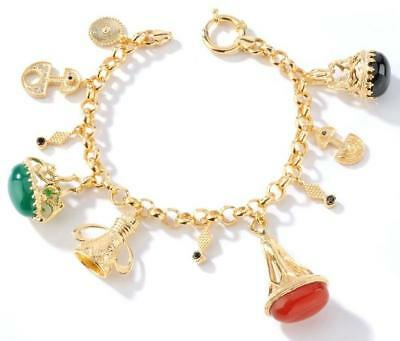 Bold Natural Gemstone Charm Bracelet 14k Yellow Gold Clad Gold Silver