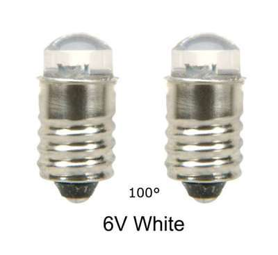 LED Lamp Bulb  6V White  100° MES E10 screw  Lot of 2