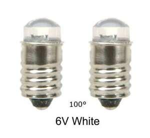 LED Lamp Bulb  6V White  100° MES E10 screw  Lot of 2