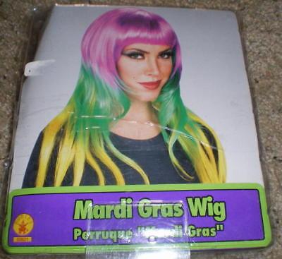 MARDI GRAS WIG Purple Green Gold LONG NEW Bangs 3Color TRI-COLOR Costume](Mardi Gras Wigs)
