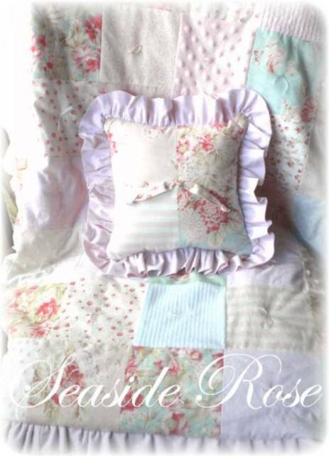 Vintage Seaside Rose Chenille baby quilt crib bedding