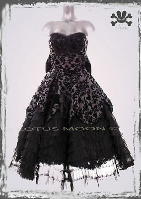 HELL-BUNNY-LAVINTAGE-LONG-BLACK-DRESS-goth-prom-victorian-bride-S-M-L-XL-wedding