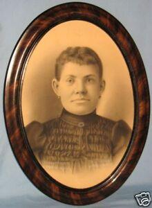 Mahogany grained pine oval frame charcoal portrait ebay