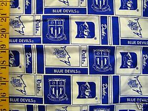 about DUKE UNIVERSITY BLUE DEVILS PATCH 100% COTTON FABRIC 1/2 YARD