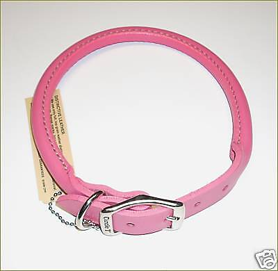 "ROLLED LEATHER DOG COLLAR  PINK  16"" NICKEL HARDWARE on Rummage"