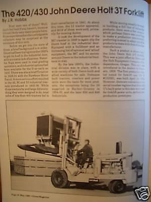 John Deere 420 & 430 Holt 3T forklift tractor Green mag