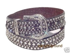 New Women Cowgirl Western Rhinestone Bling Leather Belt
