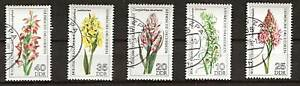 EAST-GERMANY-1729-33-Used-FLOWERS-PLANTS-FLORA