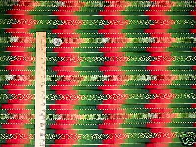 Christmas Wrapping Paper Red Green Zig Zag Quilt Cotton Vip Fabric Sew Bty