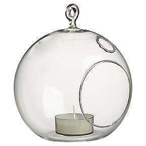 1-Clear-Glass-10cm-Ball-Shere-Orb-Hanging-tealight-candle-holder-wedding-event