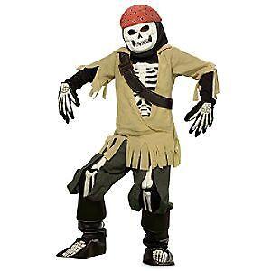 Disney Jack Sparrow Glow In Dark Boney Pirates Of Caribbean Xxs 2-3 Costume
