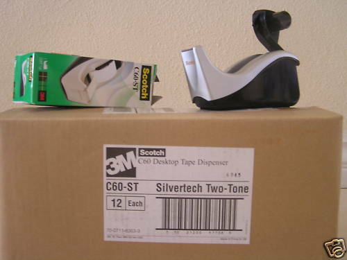 NEW CASE OF 12 Scotch Desktop Tape Dispenser C60-ST Silvertech Weighted Non-Skid