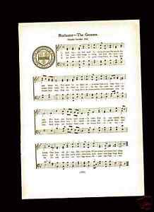 "VTG UNIVERSITY of ROCHESTER song-""THE GENESSEE"" c1918"