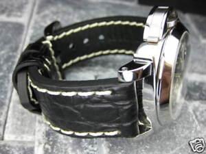 New-BIG-GATOR-24mm-Black-Grain-LEATHER-STRAP-Watch-Band-fit-PANERAI-Buckle-24