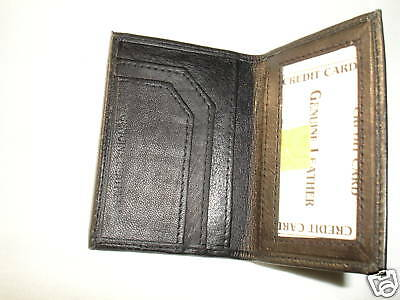 Black Leather Card Case Student Wallet 1 Card Id Slot