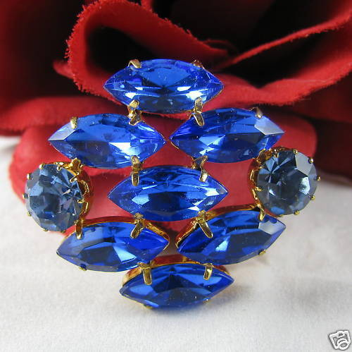 Vintage Vibrant Blue Navettes Rhinestone Pin CAT RESCUE