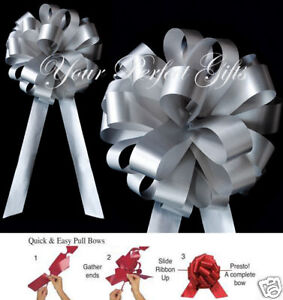 "SILVER WEDDING 8"" PULL PEW BOW BRIDAL CHURCH DECORATION"