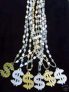 1-Dozen-034-MONEY-DOLLAR-SIGNS-034-MARDI-GRAS-NECKLACES-6-GOLD-amp-6-SILVER-B444