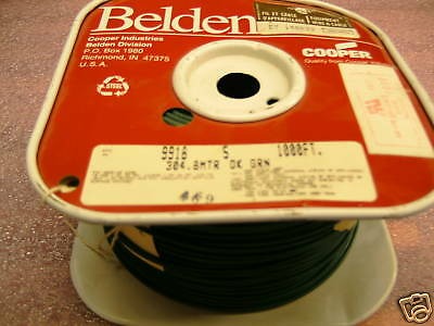 Spool >900ft Belden 9918 18 Awg 300v Green Cable Wire