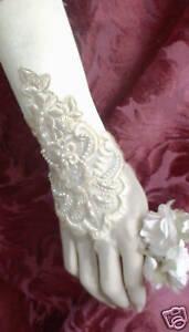 Victorian-Civil-War-Long-Fingerless-Gathered-loop-Gloves-Beaded-Ruching-Satin