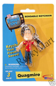 Family Guy QUAGMIRE KEYCHAIN Bendable Toy Figure RARE Discontinued  Key Chain
