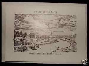 Federzeichnung-Klapp-Karte-Nordsee-Hooksiel-Hafen-AK-Kuenstlerkarte