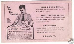 INK BLOTTER NU-WAY STRETCH SUSPENDERS ADVERTISING Hick's PA