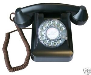 Retro 1940s Telephone with Working Rotary Dial - Old Fashioned Black Phone