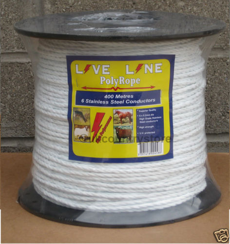 White Electric Fencing Rope 400m