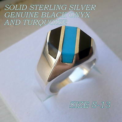 MEN'S 925 STERLING SILVER TURQUOISE / BLACK ONYX RING SIZE 8-13