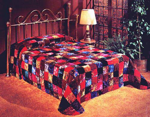 Patchwork-Designer-Velvet-WATERBED-Quilt-Comforter-bedspread