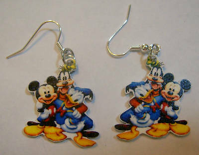 Mickey Mouse Earrings Donald Duck Goofy Charms