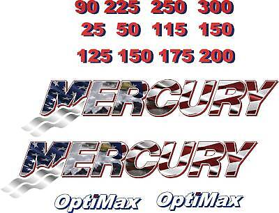 2 Small Mercury Flag Outboard Boat Motor Decal,sticker