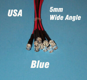 10-pcs-LED-5mm-PRE-WIRED-12-VOLT-WIDE-VIEW-ANGLE-BLUE-PREWIRED